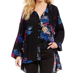 FREE PEOPLE Meadow Lark Black Floral Tunic Top S